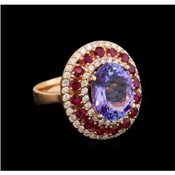 14KT Rose Gold 6.61 ctw Tanzanite, Ruby and Diamond Ring