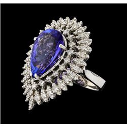 GIA Cert 8.48 ctw Tanzanite and Diamond Ring - 14KT White Gold