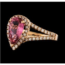 1.70 ctw Pink Tourmaline and Diamond Ring - 14KT Rose Gold