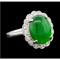 4.63 ctw Jade and Diamond Ring - Platinum