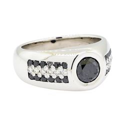 2.25 ctw Black and White Diamond Ring - 14KT White Gold