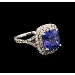 4.75 ctw Tanzanite and Diamond Ring - 14KT White Gold