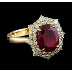 3.52 ctw Ruby and Diamond Ring - 14KT Yellow Gold