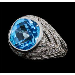 9.50 ctw Blue Topaz and Diamond Ring - 18KT White Gold