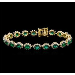7.29 ctw Emerald and Diamond Bracelet - 14KT Yellow Gold