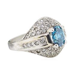 1.52 ctw Blue and White Diamond Ring - 14KT White Gold