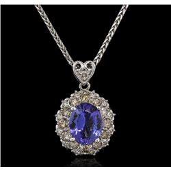 3.56 ctw Tanzanite and Diamond Pendant With Chain - 14KT White Gold