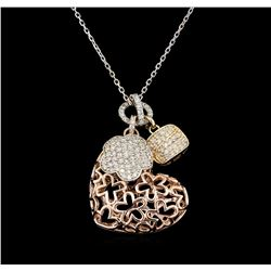1.08 ctw Diamond Pendant With Chain - 14KT Tri Color Gold