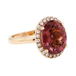 4.20 ctw Rubellite And Diamond Ring - 14KT Rose Gold