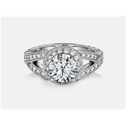 Cubic Zirconia and Diamond Ring - 14KT White Gold