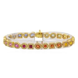 5.11 ctw Multi Color Sapphire and Diamond Bracelet - 14KT Yellow Gold