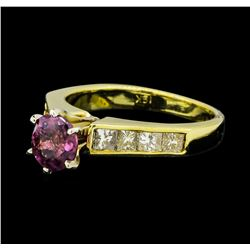 1.06 ctw Ruby and Diamond Ring - 18KT Yellow Gold