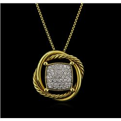 0.46 ctw Diamond Pendant With Chain - 18KT Yellow Gold