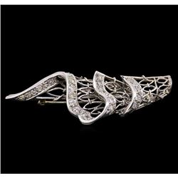 1.14 ctw Diamond Brooch - 18KT White Gold
