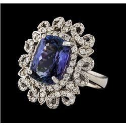 6.08 ctw Tanzanite and Diamond Ring - 14KT White Gold