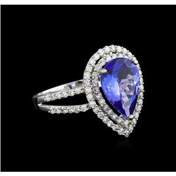 14KT White Gold 3.01 ctw Tanzanite and Diamond Ring