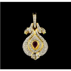 0.60 ctw Ruby, Emerald and Diamond Pendant - 18KT Yellow Gold