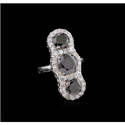 7.38 ctw Fancy Black Diamond Ring - 14KT White Gold