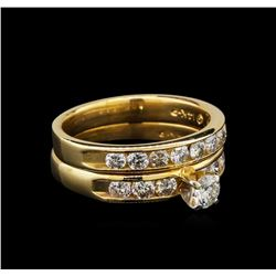 1.11 ctw Diamond Wedding Ring Set - 14KT Yellow Gold