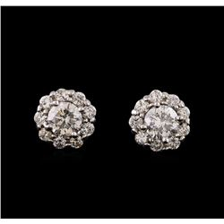 1.76 ctw Diamond Earrings - 14KT White Gold