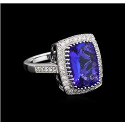 14KT White Gold 5.95 ctw Tanzanite and Diamond Ring