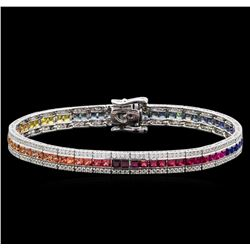 7.36 ctw Multi Color Sapphire and Diamond Bracelet - 14KT White Gold