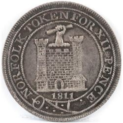 1811 Norfolk Token - Twelve Pence.