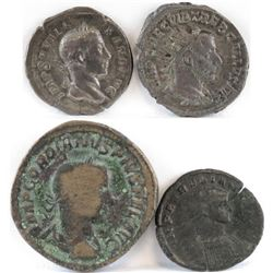 Lot of (4) Roman Empire Coins includes 222-235 Alexander Severus, 251-254 Trebonianus Gallus, 238-24