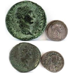 Lot of (4) Roman Empire Coins includes 96-98 Nerva, 98-117 Trajan, 117-138 Hadrian  193-211