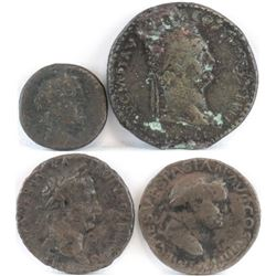 Lot of (4) Roman Empire Coins includes 100 B.C. ob. head right - rev. chariot, 81-96 Domitian, 96-98