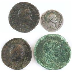 Lot of (4) Roman Empire Coins includes 68-69 Galba, 69-79 Vespasian, 79-81 Titus  98-117 Trajan.