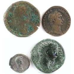 Lot of (4) Roman Empire Coins includes 96-98 Nerva, 98-117 Trajan, 161-169 Lucius Verus  193-211 Se