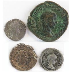 Lot of (4) Roman Empire Coins includes 180-192 Commodus, 238-244 Gordian III, 268-270 Cladius Gothic