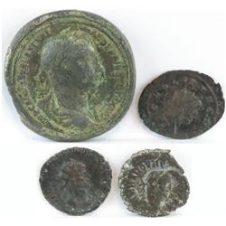 Lot of (4) Roman Empire Coins includes 222-235 Alexander Severus, 260-268 Gallienus, 268-270 Claudiu