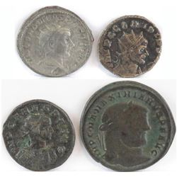 Lot of (4) Roman Empire Coins includes 238-244 Gordian III, 268-270 Claudius Gothicus, 282-283 Carus