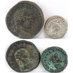 Lot of (4) Roman Empire Coins includes 211-217 Caracalla, 218-222 Elagabalus, 270-275 Aurelian  284