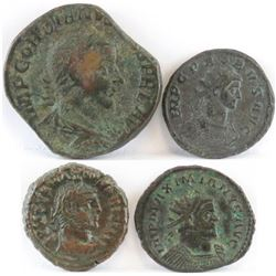 Lot of (4) Roman Empire Coins includes 238-244 Gordian III, 276-282 Probus, 284-305 Diocletian  286