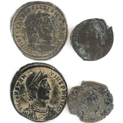 Lot of (4) Roman Empire Coins includes Diocletian, (2) Constantius II  Valentinian II.