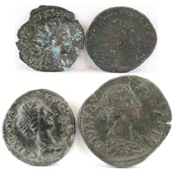 Lot of (4) Roman Empire Coins includes Tetricus, Victorinus, Crispina  Faustina Jr.