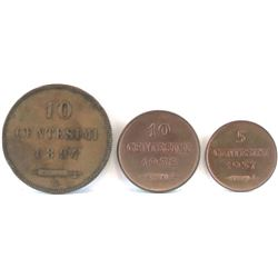 Lot of (3) San Marino Coins - The Smallest Country In The World by Area! Includes 1894 10 Centesimi