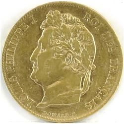 1840 France 20 Francs Gold - Louis Philippe I.