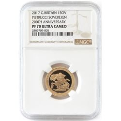 2017 Great Britain 1 Sovereign - 200th Anniversary Pistrucci Sovereign. NGC Certified PF70 Ultra Ca