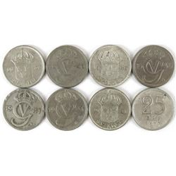 Lot of (30) Sweden 25 Ore includes 1939, (3)1940, (3) 1941, 1943, (2) 1944, 1945, (2) 1946, 1947,