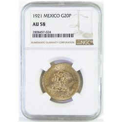 1921 Mexico 20 Pesos Gold. NGC Certified AU58.