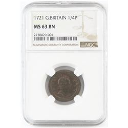 1721 Great Britain 1/4 Penny (Farthing). NGC Certified MS63BN.