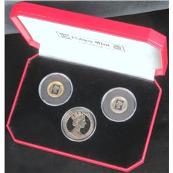 1990 Isle of Man 3pc. Bi-Metallic Penny Black Coin Set includes (2) 1/5 Crown  1 Crown in Pobjoy