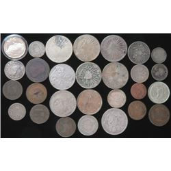 Lot of approx (28) misc. mostly Foreign Coins  Tokens. As Is!