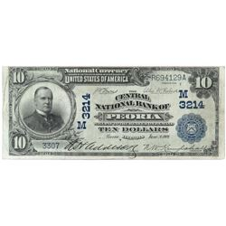 1902 $10 National Currency Note - The Central National Bank of Peoria, Illinois - date back. CH# 32