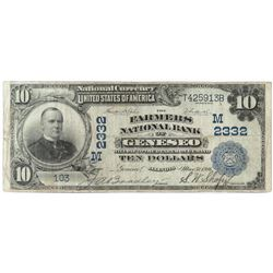 1902 $10 National Currency Note - The Farmers National Bank of Geneseo, Illinois. CH# 2332 FR# 632.