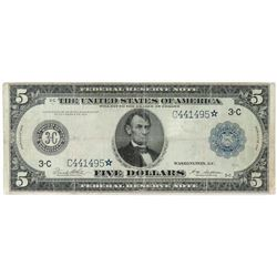 Star Note: 1914 $5 Federal Reserve Note - Philadelphia. FR# 855C*.